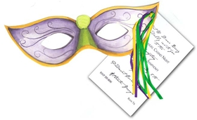 Get ready to celebrate! This Mardi Gras style mask is decorated in just the right colors--purple, green and gold. Its perfect for a Fat Tuesday or New Orleans themed celebration. Stylish Mardi Gras die-cut  is attached to imprintable 3.5&quot; x 5.5&quot; flat card with purple, green, and yellow ribbons provided. White envelopes included. <P> <B>FOR PERSONALIZED OPTION ONLY</B> IF YOU NEED US TO ASSEMBLE THE TAG AND GLITTER TO THE DIE-CUT CARD, THERE IS AN ADDITIONAL CHARGE OF $1.00 PER CARD FOR BOTH OR $0.50 PER CARD FOR EITHER GLITTER OR ASSEMBLY (Please specify in the comments to your order that you like glitter and/or assembly option; also, request an upgrade in order options).</P> If ordered blank with glitter option, glitter will need to be applied with a glue pen (not included).