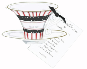 Stylish die-cut tea cup is decorated with red and white stripes.  A horizontal black band with white polka dots porders a small section that can be personalized with 1 line of text.  You attach the die-cut to an imprintable 3.5&quot; x 5.5&quot; flat card with black satin ribbon provided.<p><B>DETAILS:</B></P><LI>100# premium white cardstock and includes white envelope</li><li>Teacup does have perforated edge that is attached for printing.  Teacup can be personalized in limited space on cup.</li><li>You will need to attach the flat imprinted card to the teacup with the black satin ribbon provided.  We can assemble for you at an additional cost of $1.00 per card.</li><li>Teacup also available with glitter for additional upgrade of $.50 per card.  You apply glitter with glitter pen provided.  We can apply glitter for you at an addtional charge.</li><li>Imprintable flat card is easy to print on any inkjet or laser printer.</li>