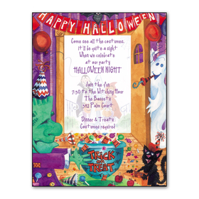 "This bright and colorful ghoulish laser paper is a perfect invitation for your ghosts & goblins guests. It is decorated all along the border with wiggly lines in Halloween colors! The center has 3 boxes showing a ghost, a witchs hat, and a jack-o-lantern. Fun for any Halloween event! Make an impression with our colorful Halloween designer 8 ½"" x 11"" paper. You wont find premium quality paper like this at your local store. Coordinating envelopes are sold separately."