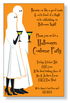 This ghostly couple design makes a fun Halloween invitation! Card is printed on an 80lb. card stock.  Includes white envelope.