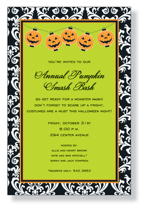 Jack Lanterns - A halloween elegant design for a halloween bash! This black and green framed invitation has a fun side to it with a touch of halloween jack o lanterns hung across the top of the invitation.   Includes a white envelope.