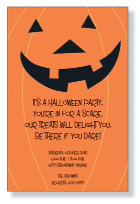 Big Jack - A fun halloween invitation with a bold orange background and a fun large jack o lantern face at the top.  Great for a childs party or a halloween trick or treat gathering.  Includes white envelopes.