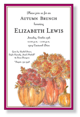 This card is decorated with pumpkins that have been turned into floral arrangements! Hollowed pumpkins with flowers and fall leaves bursting out the top. A fantastic decoration idea as well as a great choice for any Autumn harvest or Thanksgiving celebration.<p>A trendy Holiday design printed only on premium fine quality 80 lb. card stock. Available either blank or personalized. Includes white envelope.</p>