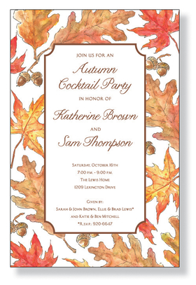 Crisp Leaves - The colors of Fall in a beautiful border design.  You can see fallen leaves and acorns all around in orange, yellow, and brown. A great choice for any Autumn harvest or Thanksgiving celebration.A trendy Holiday design printed only on premium fine quality 80 lb. card stock. Available either blank or personalized. Includes white envelope.