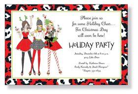 Holiday Ladies - These ladies are ready for fun at a holiday party! Decked out in every Christmas fashion you could imagine, the girls on this invitation will set the mood for your wild holiday party. The border is even a Christmas leopard print! A trendy Holiday design printed only on premium fine quality 80 lb. card stock. Available either blank or personalized. Includes white envelope.