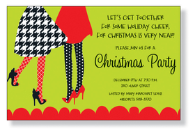 Festive Flair - A trendy Holiday design of two ladies in heels and printed skirts. A fashionable Christmas invitation for a ladies only soiree or any Holiday party! Printed only on premium fine quality 80 lb. card stock. Available either blank or personalized. Includes white envelope.
