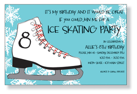 Winter fun on the ice! This card is decorated with an ice skate against a blue background with bright white snowflakes. Its great for an ice skating birthday party! The number on the ice skate can be changed to any number or letter when ordered personalized. A trendy design printed only on premium fine quality 80 lb. card stock. Available either blank or personalized. Includes silver metallic envelope. No extra postage required when addressed horizontally.
