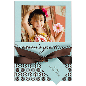 Seasons Greetings card holds a 4x6 inch photo with ribbon wrapped around card holding personalized gift tag printed in brown font color. Price includes packets, tags, ribbons and unlined espresso envelopes. Photos not included in price. Customer assemble. 5 1/8 x 7 1/4 folder size