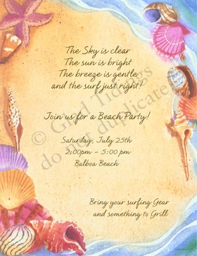 <B>ON SALE!  25 AVAILABLE AT SALE PRICE! </B><br><br>A beautiful ocean themed invitation that is perfect for a tropical wedding party or a fun day at the beach.  Includes white envelopes.  Inkjet/laser compatible or let us print them for you!