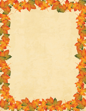 A perfectly fall paper that has the beautiful colors of the season on the leaves that flow around the edge of this stationery.  colored envelopes are available but are sold seperately. <br>