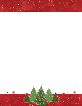 A beautiful and festive christmas themed paper that is perfect for the season!  This paper is designed with the top and bottom bordered with red and holiday trees at the bottom center.  Accented with red foiling.  With envelopes with red foil available but sold seperately.
