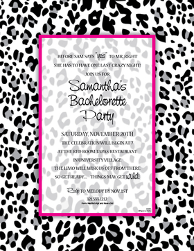 Let them know its going to be a Wild tim!  This laser paper is perfect for any bachelorette party.  Designed with a black and grey leopard design and completed with a hot pink border that completes this design.  Colored envelopes are available but are sold seperately.