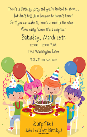 A fun birthday bash must have a great invitation!  This design shows a group of young party guests covered with streamers and confetti gathered around a big birthday cake ready to dive in.   Digitally printed for bright, crisp colors on premium quality cardstock.  Available personalized only.  Includes white envelopes.