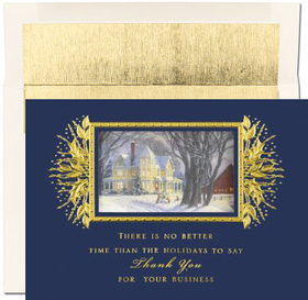 "DISCONTINUED<br><br>An elegant holiday greeting card designed in blue and gold foil and has the verse ""There is no better time than the Holidays to say Thank You for you Busienss"".   This is great for business style greeting cards for the office and can be personalized with a company logo plus up to 3 lines."