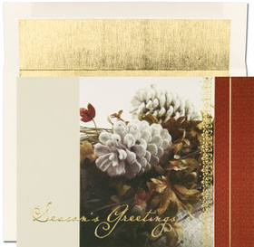 "DISCONTINUED<br><br>An elegant Red and gold designed holiday greeting card that has a picture of winter foilage that has frosted pinecones accenting this winter arrangement and in gold foil has ""Seasons Greetings"" on the front.  Includes a white envelope with a gold lining.  This card can be personalized with a business name and logo or a haliday verse and personalized names."