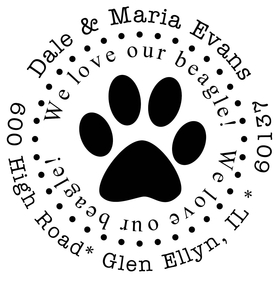 A fun stamp for the pets lovers! This Great stamp can be used for an address stamp.  Please place the name and address in the personalization box and we will fit the information in the area given.  Some addresses will require abreviations.  We will offer a proof if any changes are needed. <br>