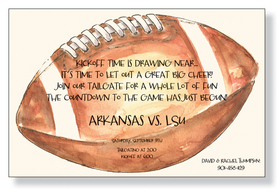 This classic football design is printed on premium quality ivory cardstock.  Perfect for your annual tailgate party.  Includes ivory envelopes.