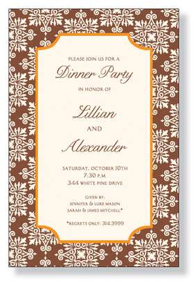 A beautiful design for the fall that is printed on an ivory cardstock and is created with a brown background and a damask design.  An orange border is around the center that is for the personalization.  Includes an ivory envelope.