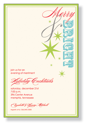 "A beautiful design for the Holiday Season that is printed on an ivory cardstock and is created with a lime green border and ivory background. ""Merry & Bright"" is part of the design and is preprinted on the invitation. Easy to print on your laser/inkjet printed or we can personalize it for you! Includes an ivory envelope."