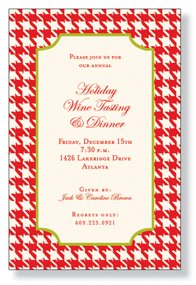 A beautiful design for the holiday or Christmas party invitation. It is printed on an ivory cardstock and is created with a red houndstooth design.  A lime green border is around the center intended for your personalization. Easy to print on your inkjet/laser printed or we can personalize it for you. Includes an ivory envelope.
