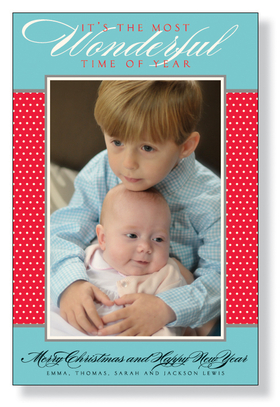 A beautiful photo card design for Seasons Greetings that is printed on an ivory cardstock and is created with a blue and white polka dots on red border design. Simply attach your photo in the photo box. <b> Verse above the photo <br><br>&quot;ITS THE MOST Wonderful TIME OF YEAR&quot;<br><br>is a part of the design and cannot be changed.<br></b><br>Easy to print on your inkjet/laser printed or we can personalize it for you. Includes an ivory envelope.