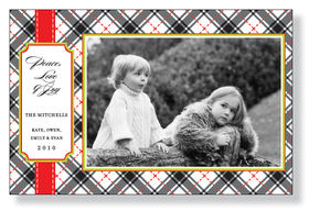 A sophisticated holiday photo card that is designed with a black and red plaid design and a red band on the side.  Icludes white envelope.  Photo will need to be applied to card.