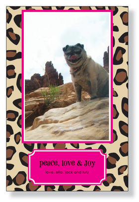 Leopard Lipstick Photo Card  - A fun photo card that is designed with a black and brown leopard print on the background and a Hot pink border.  Photos will need to be attached to the photo card.  Includes white envelope.