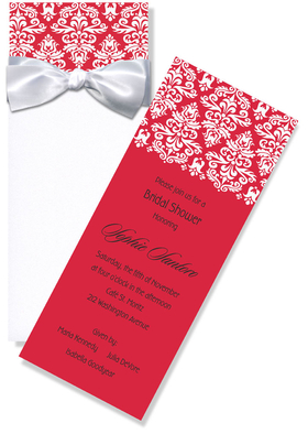 Elegant long invitation with a crystal white sleeve.  The insert invitation is red with elegant white damask.  Card comes with a white bow that easily ties around the top of the sleeve.  This invitation is perfect for a formal wedding, a formal business event, or holiday event.  Includes white envelope.