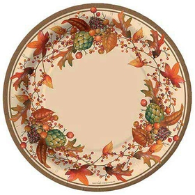 "Bittersweet dessert plate has a colorful fall design that is sure to create a great look for your next thanksgiving dinner party. plate is 8"" in diameter."