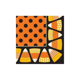 Add some fun to your next Halloween party with this fun Candy Corn beverage napkin!  The border is bright orange and yellow candy corn and the center has black polka dots against a bright orange background.  Beverage napkins ar 25cm x 25 cm.