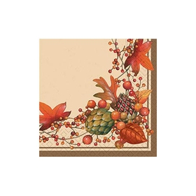 Elegant Bittersweet beverage napkin is perfect for the your special fall occasion.  Designed with fall foliage intertwining around the border and rich brown background and outer border.  25 cm sq. Minimum quantity 40.