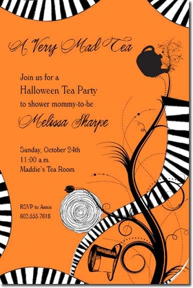 A Tea Party with a Twist! This Great invitation is not only a fun and different approach to a tea party but this design is a whimsical and unique approach to any Mad Hatter tea party.  The invitation is filled with black and white designs on an orange background perfect for a themed Halloween party.  Comes with a white envelope.