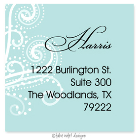 Beautifully printed with a matte finish, take note! designs custom address labels are the perfect complement to your custom printed greeting cards or invitations. Label comes with your family name and address printed on them.  This label is only available personalized. It comes in sets of 12. Minimum order is 36.