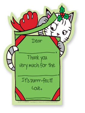 "Let your kids to say ""Thank You!"" in a way that is fun and simple. This cute set of Noodles thank you notes is decorated with a little white and grey kitten peeking into a red and green wrapped present. Kids need only fill in a few details, and they are done! A great way to get kids started early on giving thanks. Includes coordinating envelope."