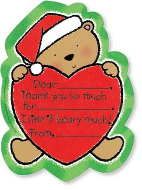 "Let your kids to say ""Thank You!"" in a way that is fun and simple. This cute set of Noodles thank you notes is decorated with a sweet little bear hugging a heart. It is wearing a Santa hat for Christmas! Kids need only fill in a few details, and they are done! A great way to get kids started early on giving thanks. Includes coordinating envelope."