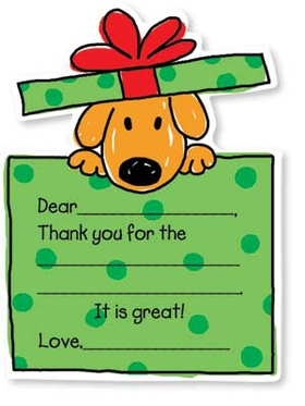 "Let your kids to say ""Thank You!"" in a way that is fun and simple. This cute set of Noodles thank you notes is decorated with a sweet little puppy in a bright green present. Kids need only fill in a few details, and they are done! A great way to get kids started early on giving thanks. Includes coordinating envelope."