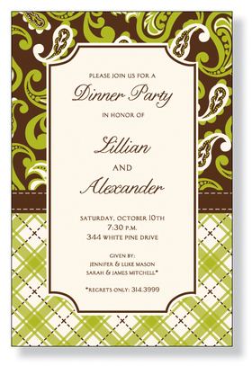 A beautiful design for any occasion. It is printed on an ivory cardstock and is created with brown and lime green paisley and plaid designs. Easy to print on your inkjet/laser printed or we can personalize it for you. Includes an ivory envelope.
