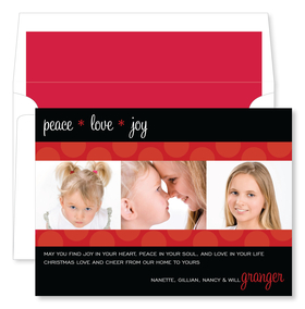 A fun black and red polka dot photo card.  this bring the traditional color of holiday red with a fun dot theme and is sure to be a great greetings for friends and family. Inlcudes red lined envelope.