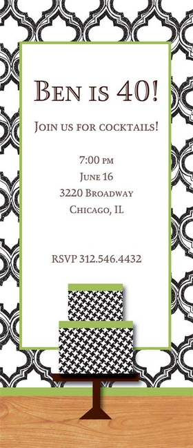 A classic look to celebrate your birthday party. This invitation has a black and white background with a houndstooth birthday cake on a wood counter top. Great for milestone birthdays! This fun 4x9.25 invitation comes  blank or let us print them for you. Cards come with optional glitter embellishment. Please indicate in order if you would like glitter added. Coordinating color envelopes are included.<br>
