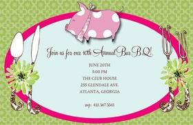 Discontinued<br><br>Here piggy! This invitation is decorated with a pink polka dotted piggy at the top with the background being a green and pink placesetting. Its a great choice for a pig roast or barbeque! Use this invitation for rehearsal dinners, summer parties, and get togethers where a pig is the main attraction. This fun 5.5x 8.5 invitation is available blank or personalized. Glitter embellishment option. Coordinating envelopes included.