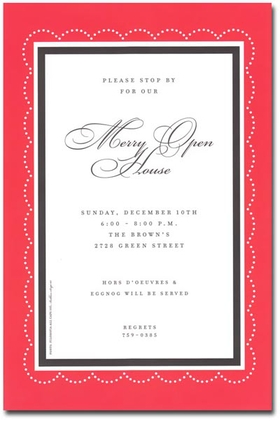 This traditional holiday card has a red outer border with a slim, black inner border. It has a quaint stitched pattern all along the border adding a beautiful touch. This classic invitation is perfect for business holiday events such as an office holiday party!<p>A trendy Holiday design printed only on premium fine quality 80 lb. card stock. Available either blank or personalized. Includes white envelope.</p>