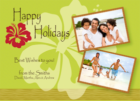 A great tropical vacation means a great tropical themed holiday greeting card!  Send a holiday greeting by showing your favorite get away.  Created with a bold green background and a bright red hibiscus on the front.  Includes a white envelope.