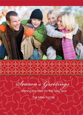 A great card with a lots of colorful accentes that make this design a perfect holiday card.  Created with a perfect mix of reds and greens . Comes with a white envelopes.