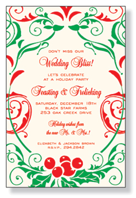 This invitation is part of the fabulous Mindy Weiss collection. A great and trendy holiday floral scrolls holiday theme, printed only on premium fine quality 80 lb. IVORY card stock. Available either blank or personalized. Includes ivory envelopes.