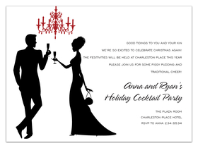 A great invitation for that annual New Years party.  This invitation is created with a white background and shows a couple making the champagne toast into the New Year.  Can also be used for a formal event such as wedding or engagement party.  Includes white envelopes.