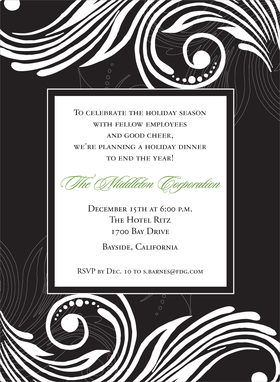 Perfect for a formal dinner party or a company event.  This invitation is created with a black background and a white scroll design with a white center box in the center for you personalization.  Includes a white envelope.