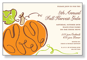 This invitation is part of the fabulous Mindy Weiss collection. A simple pumpkin design on ivory background is perfect for your Fall fest. It is printed only on premium fine quality 80 lb. IVORY card stock. Available either blank or personalized. Includes ivory envelopes.