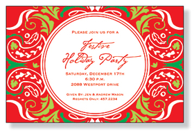 This invitation is part of the fabulous Mindy Weiss collection. A simple funky lime green, red, green, and white paisleys on red background design, printed only on premium fine quality 80 lb. card stock. Available either blank or personalized. Includes white envelopes.
