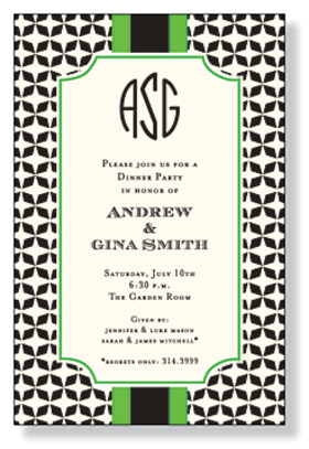 A beautiful black and white pattern is perfect for any occasion and has a lime green border against an ivory background. Includes an ivory envelope.