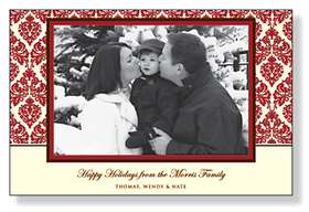 A sophisticated holiday photo card that is designed with a brown and red border around the photo and red damask on  ivory background around the photo. Printed on premium 80# white card stock. Includes envelopes.<br><br>Photo will need to be attached to card.